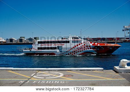 2017 The Ferry of Rottnest Island Express at the Fremantle Habour ready to be refueled