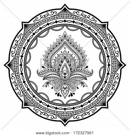 Circular pattern in the form of a mandala.Henna tattoo flower template in Indian style. Ethnic floral paisley - Lotus. Mehndi style. Decorative pattern in oriental style.