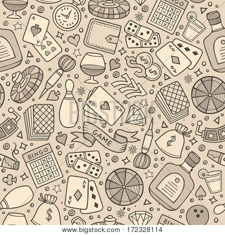 Cartoon hand drawn casino, games seamless pattern. Lots of symbols, objects and elements. Perfect funny vector background.