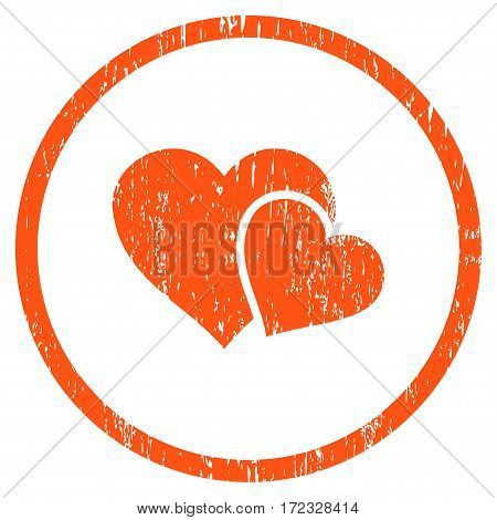 Love Hearts grainy textured icon for overlay watermark stamps. Rounded flat vector symbol with scratched texture. Circled orange ink rubber seal stamp with grunge design on a white background.