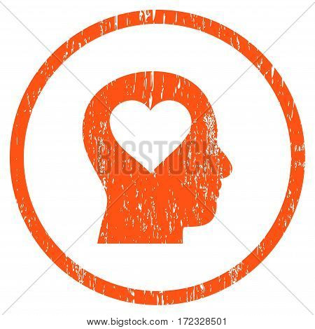 Love In Head grainy textured icon for overlay watermark stamps. Rounded flat vector symbol with unclean texture. Circled orange ink rubber seal stamp with grunge design on a white background.