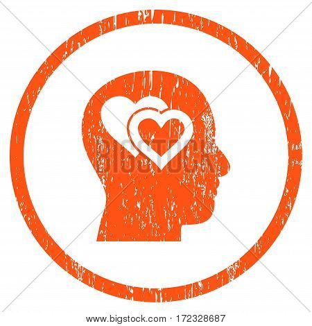 Love In Mind grainy textured icon for overlay watermark stamps. Rounded flat vector symbol with scratched texture. Circled orange ink rubber seal stamp with grunge design on a white background.