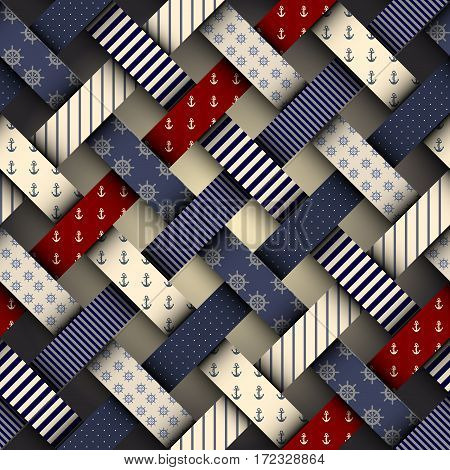 Seamless background pattern. Plaid nautical pattern in a material design style.