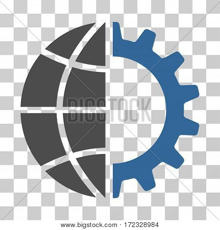 Global Industry vector pictograph. Illustration style is flat iconic bicolor cobalt and gray symbol on a transparent background.
