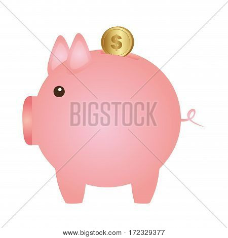 color silhouette with money box in shape of pig vector illustration