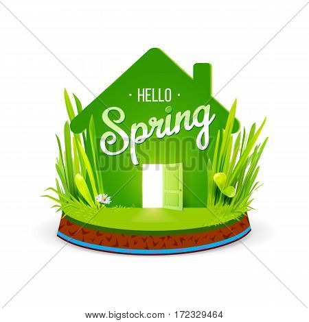 Green eco house icon with open door and grass isolared on white background. Hello Spring lettering. Vector illustration