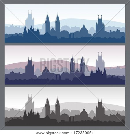 Old town silhouettes set. Seamless city skylines in different colors. Silhouette of Prague. Vector illustration for website or banner. Travel background.