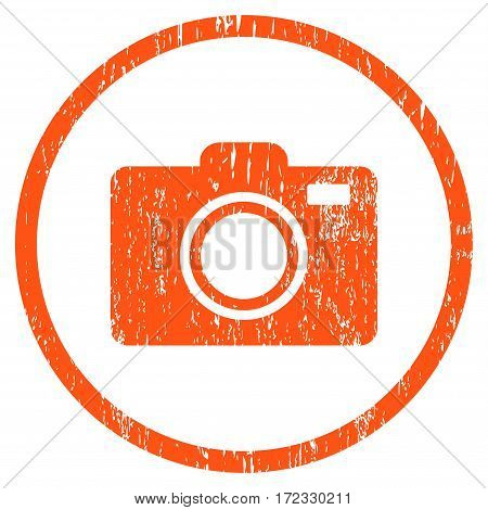 Photo Camera grainy textured icon for overlay watermark stamps. Rounded flat vector symbol with scratched texture. Circled orange ink rubber seal stamp with grunge design on a white background.