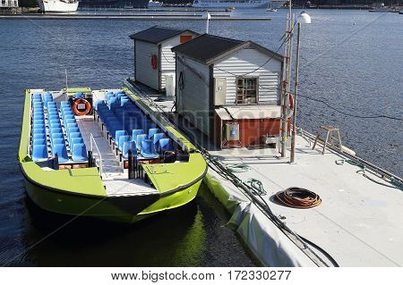 STOCKHOLM, SWEDEN - JUNE 27, 2016: This boat is one way to take a tour of the city located on several islands.