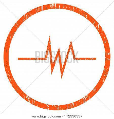 Pulse Signal grainy textured icon for overlay watermark stamps. Rounded flat vector symbol with dust texture. Circled orange ink rubber seal stamp with grunge design on a white background.