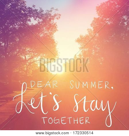 Inspirational Quote -  Dear summer let's stay together