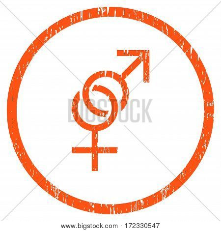 Sex Symbol grainy textured icon for overlay watermark stamps. Rounded flat vector symbol with dust texture. Circled orange ink rubber seal stamp with grunge design on a white background.