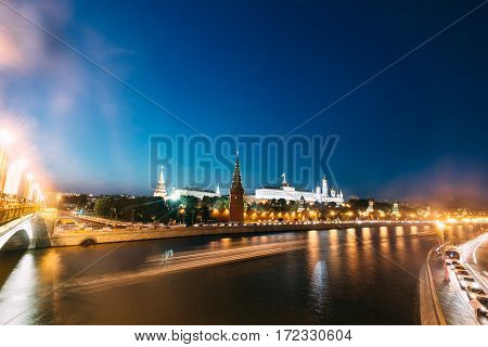 Urban landscape of Moscow, overlooking the Kremlin wall Great Kremlin Palace and Moskva River