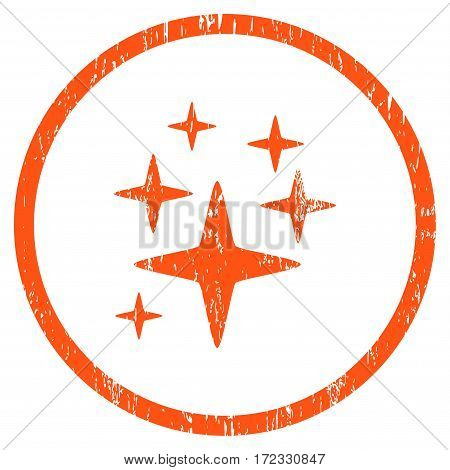 Sparkle Stars grainy textured icon for overlay watermark stamps. Rounded flat vector symbol with unclean texture. Circled orange ink rubber seal stamp with grunge design on a white background.