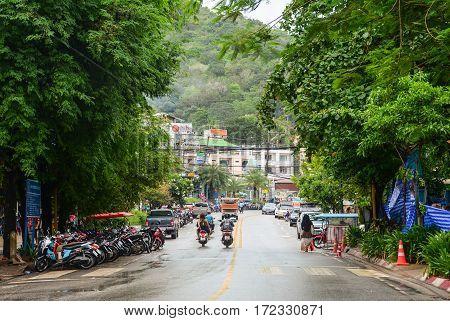 Krabi Thailand - May 3, 2015. Traffic on street in Krabi Thailand.
