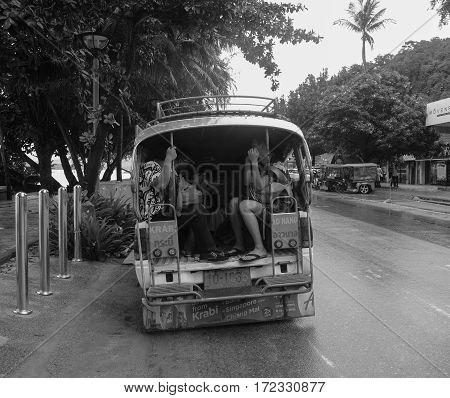 Krabi Thailand - Oct 1, 2016. Traffic on street in Krabi Thailand.