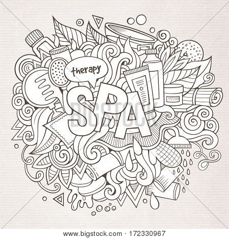 Spa hand lettering and doodles elements and symbols background. Vector hand drawn illustration