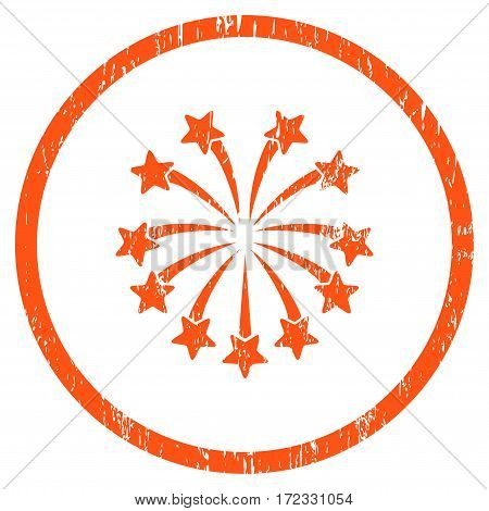 Spherical Fireworks grainy textured icon for overlay watermark stamps. Rounded flat vector symbol with scratched texture. Circled orange ink rubber seal stamp with grunge design on a white background.