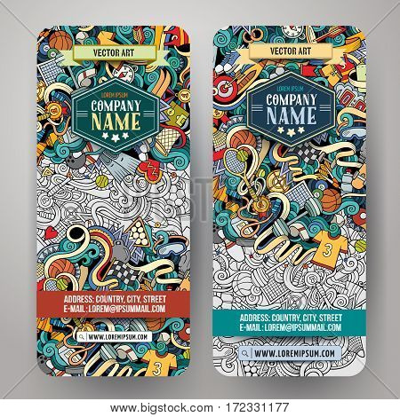 Cartoon cute colorful vector hand drawn doodles Sport corporate identity. 2 vertical banners design. Templates set