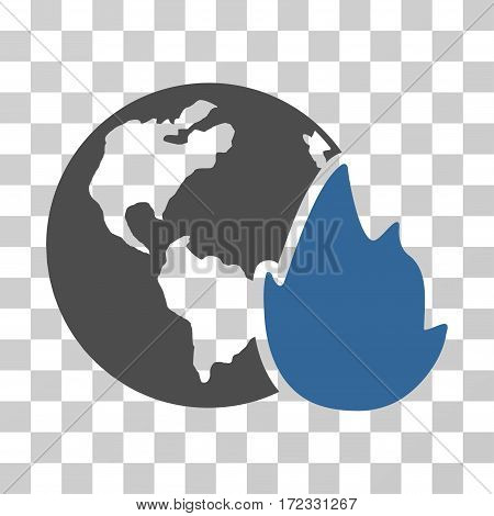 Planet Flame vector pictograph. Illustration style is flat iconic bicolor cobalt and gray symbol on a transparent background.
