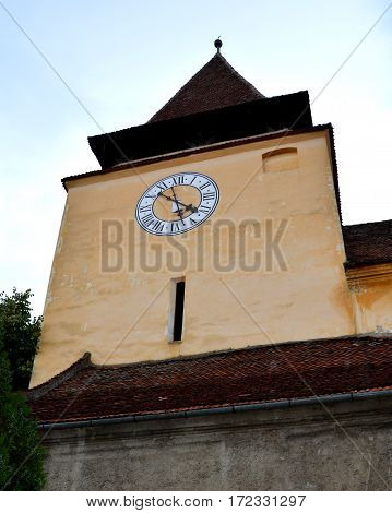 Tower of the fortified medieval church Ghimbav, Transylvania
