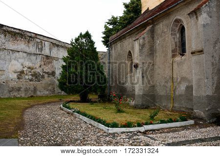 Courtyard of the fortified medieval church Ghimbav, Transylvania, Romania.