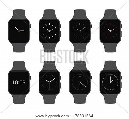 isolated vector illustration. Smartwatch devices clock face electronic set