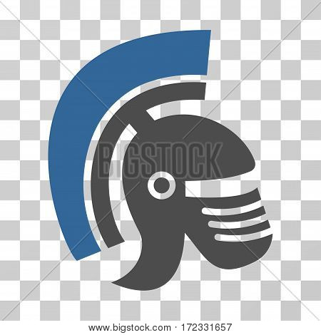 Rome Helmet vector pictogram. Illustration style is flat iconic bicolor cobalt and gray symbol on a transparent background.
