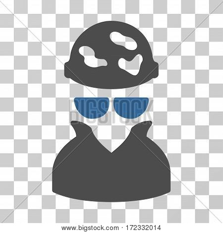 Spotted Spy vector pictograph. Illustration style is flat iconic bicolor cobalt and gray symbol on a transparent background.