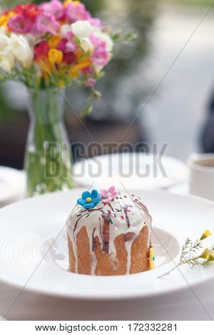 Traditional easter cake at restaurant outdoor table