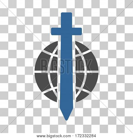 Sword Globe vector pictograph. Illustration style is flat iconic bicolor cobalt and gray symbol on a transparent background.