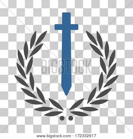 Sword Honor Embleme vector icon. Illustration style is flat iconic bicolor cobalt and gray symbol on a transparent background.