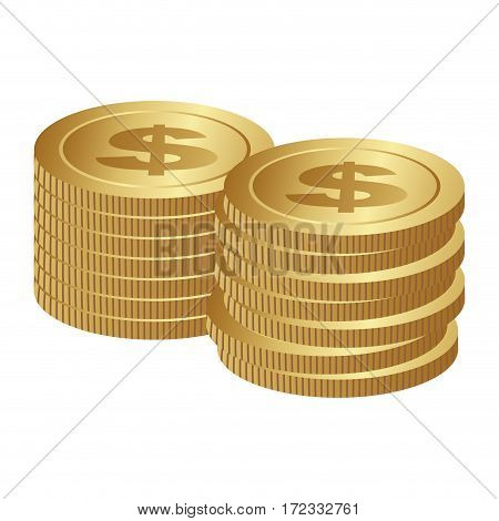 color silhouette with coins stack in horizontal position vector illustration
