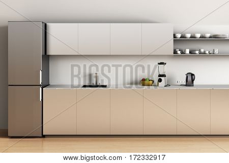 Steel office kitchen with wooden floor and refrigerator sink apples blender kettle. 3d render