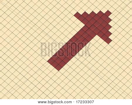 red arrow on a background gold cubes
