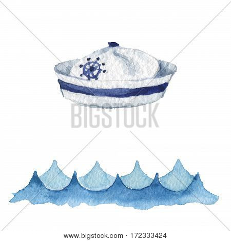 Watercolor illustration isolated on white background. Marine icon is drawn by hand. Cap of a sailor.
