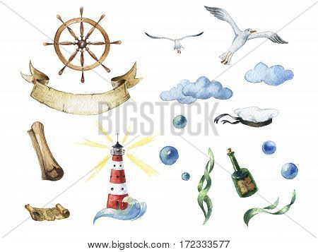 Watercolor nautical set of design elements: steering wheel, lighthouse, bottle, kelp gulls, clouds, map, sea cap bubbles