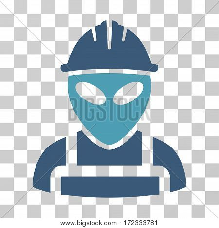 Alien Worker vector icon. Illustration style is flat iconic bicolor cyan and blue symbol on a transparent background.