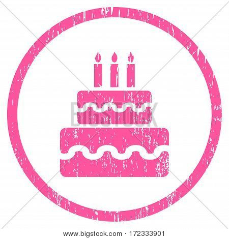 Birthday Cake grainy textured icon for overlay watermark stamps. Rounded flat vector symbol with scratched texture. Circled pink ink rubber seal stamp with grunge design on a white background.