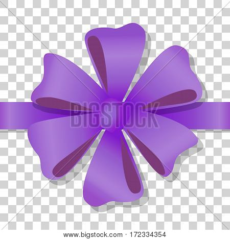 Purple flower bow on transparent background. Holiday bow with ribbon on transparency. Gift knot of ribbon in flat style. Overwhelming bow decorative element. Vector cartoon illustration. Classical bow