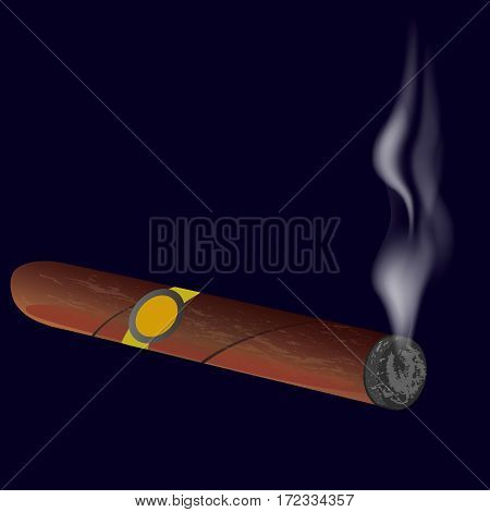 Cigar with smoke isolated on black background. Vector illustration.