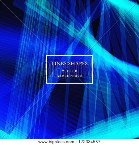 Modern technology striped abstract background vector. Bluel stripes waves lines for presentation banner brochure poster website and flyer design. Contrast colors grid