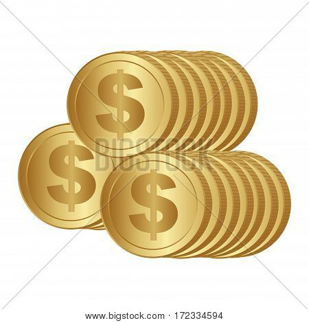 color silhouette with coins stack in front view vector illustration