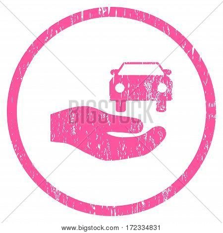 Car Gift Hand grainy textured icon for overlay watermark stamps. Rounded flat vector symbol with unclean texture. Circled pink ink rubber seal stamp with grunge design on a white background.