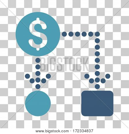Cashflow vector pictograph. Illustration style is flat iconic bicolor cyan and blue symbol on a transparent background.