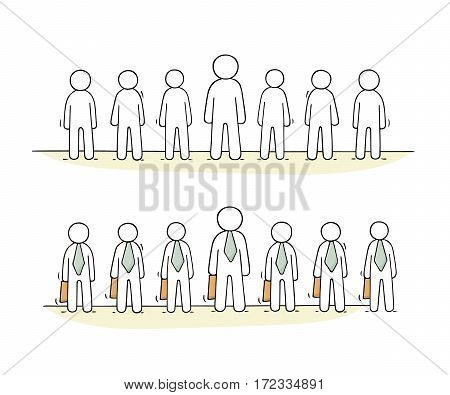 Cartoon working little people stand in a row. Doodle cute miniature scene of workers about partnership. Hand drawn vector illustration for business design.