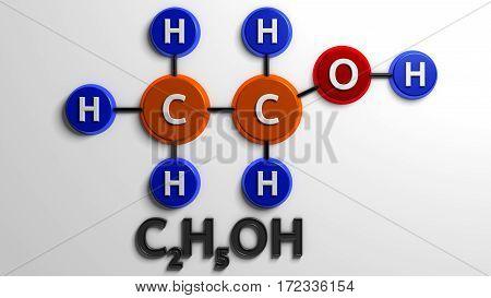 Structural chemical formula. Ethanol. C2H5OH. 3d render. Digital illustration