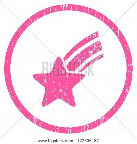 Falling Star grainy textured icon for overlay watermark stamps. Rounded flat vector symbol with dust texture. Circled pink ink rubber seal stamp with grunge design on a white background.