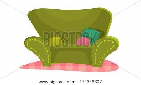 cartoon vector illustration green couch. cute sofa on the carpet