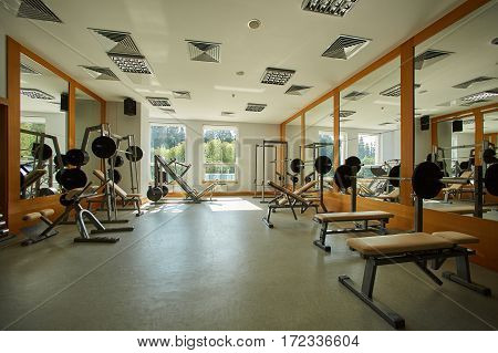 The gym with special equipment. Empty interior